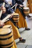 Citizens drumming in Tamborrada of San Sebastian. Basque Country, Spain. San Sebastian, Spain - August 31, 2017. Citizens drumming in Tamborrada, the drum Royalty Free Stock Photography
