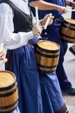 Citizens drumming in Tamborrada of San Sebastian. Basque Country, Spain. San Sebastian, Spain - August 31, 2017. Citizens drumming in Tamborrada, the drum Stock Photography