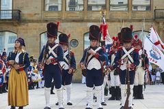 Soldiers stand in formation during Tamborrada of San Sebastian. Basque Country. Royalty Free Stock Photography