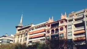 San Sebastian Spain City Roofs. Facades at San Sebastian city in Basque Country Beach La Concha Stock Image