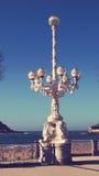 San Sebastian Spain City Streetlight. Streetlight at San Sebastian city in Basque Country Beach La Concha Stock Photography