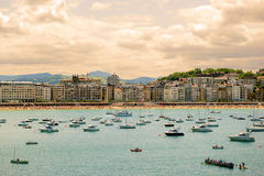 SAN SEBASTIAN, SPAIN JULY 12, 2015, view of the beach Royalty Free Stock Image