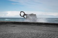 San Sebastian, Spain - March 16, 2018: scenic The comb of the wind / Peine del viento sculptures by Eduardo Chillida. San Sebastian, Spain - March 16, 2018 Stock Image