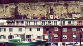 San Sebastian Spain Saint at Mountain. Harbor houses City of San Sebastian Basque Country Spain Europe Landmark Stock Image