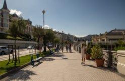 Streets next to the beach of La Concha in San Sebastian stock photo