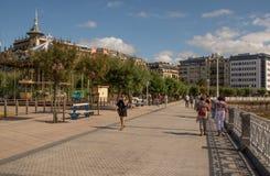 Streets next to the beach of La Concha in San Sebastian stock image