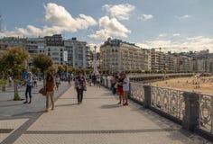 Streets next to the beach of La Concha in San Sebastian royalty free stock photos