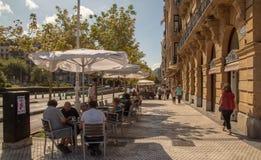 Streets next to the beach of La Concha in San Sebastian royalty free stock photography