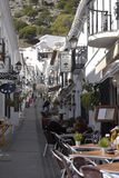 San Sebastian Street In Mijas in the Mountains above the Costa del Sol in Spain. Mijas is one of the most beautiful `white` villages of the Southern Spain area royalty free stock photo