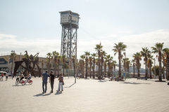 San Sebastian Tower. Funicular of Barcelona. Stock Image