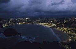San Sebastian widok nocy Fotografia Royalty Free