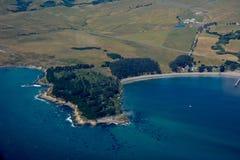 San Simeon aerial photo. Beautiful coastal aerial photograph of San Simeon in the central coast of california Stock Photos