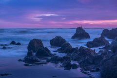San Simeon Beach Sunset Cool Sunset stock image