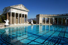 San Simeon, CA: Neptune Pool at Hearst Castle. The Neptune Pool with its classical Greek pavilions is one of the treasures at William Randolph Heart's castle San Stock Photography