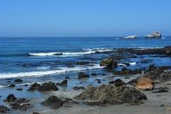 San Simeon Central Coast California gorgeous coastline. Rocky coastline with aqua blue pacific ocean and scenic coastal highway 1. Point Lobos elephant seals Stock Image