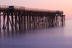 San Simeon Pier, near Hearst Castle, California, USA. San Simeon Pier at sunset, on Highway 1, San Simeon, near Hearst Castle, California, USA royalty free stock photography
