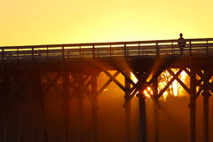 San Simeon pier with waves, near Hearst Castle, California, USA Royalty Free Stock Images