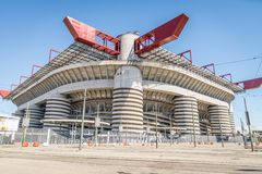 San Siro arena,Milan. MILAN,ITALY - MARCH 27, 2015: Meazza stadium in Milan.In Meazza stadium,also known as San Siro stadium, play two soccer teams: Milan AC and stock photo