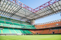 San Siro arena,Milan. MILAN,ITALY - MARCH 27, 2015: Meazza stadium in Milan.In Meazza stadium,also known as San Siro stadium, play two soccer teams: Milan AC and stock photography