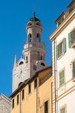 San Siro bell tower. Italy, Liguria, Sanremo. Bell tower of San Siro church. San Remo, Italy stock photo