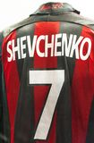 In San Siro Museum. Andrey Shevchenko shirt at the exposition of San Siro museum. Milan, Italy royalty free stock photography