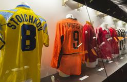 In San Siro museum. Various stars shirts at the exposition of San Siro museum. Milan, Italy stock photos