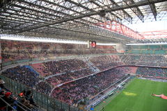 San Siro Stadium. The San Siro stadium during an AC Milan football game royalty free stock photos