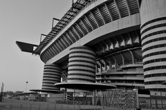 Giusaeppe Meazza San Siro football stadium in Milan. A black and white photo of the San Siro football stadium, the home arena of AC Milan and Fc Inter in Milan stock photo
