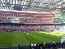 San Siro Stadium in Milan. During the match Inter against Cagliari in a beautifull day with only the sun in the sky Royalty Free Stock Photos