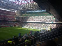 San Siro Stadium in Milan. During the match Inter against Cagliari in a beautifull day with only the sun in the sky Stock Image