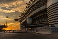 San siro stadium of milan and ticket officet royalty free stock photos