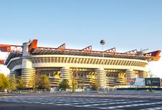 San Siro stadium on a sunny day. Giuseppe Meazza-San Siro stadium,Milan stock images