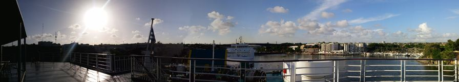 San Souci Port, panoramic from Cruise ship Bow. A panoramic shoot from the Cruise ship Bow of Ferries del Caribe, before heading to Puerto Rico. Puerto de San stock photography