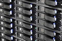 SAN storage hard drives in large datacenter Royalty Free Stock Photo