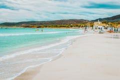 San Teodoro, Italy - September 10, 2017: La Cinta beach and Blue waters of Mediterranean Sea in San Teodoro in Sardinia Island,. Italy stock image