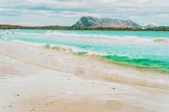 San Teodoro, Italy - September 10, 2017: La Cinta beach and Blue waters of Mediterranean Sea in San Teodoro in Sardinia Island of. Italy. Tavolara Island seen stock photo