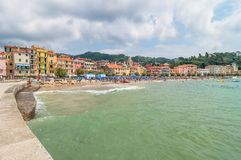 San Terenzo beach and town in Lerici, Italy Royalty Free Stock Image