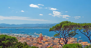 San Tropez with top view. Royalty Free Stock Photos