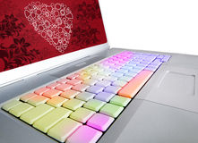 San Valentin keyboard. Where emotions express feelings Stock Photos