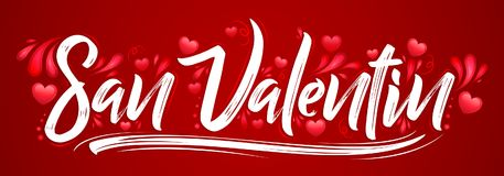 San Valentin, Valentines day spanish text. Vector banner lettering design - eps available Royalty Free Stock Photos