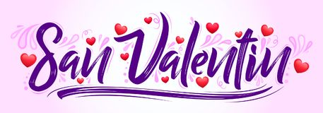 San Valentin, Valentines day spanish text. Vector banner lettering design - eps available Stock Images