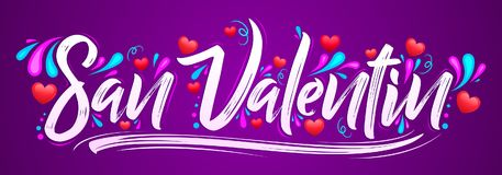 San Valentin, Valentines day spanish text - vector banner lettering design. Eps available Royalty Free Stock Photos