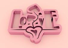 San Valentine card. Mirror shine LOVE word in 3D effect Stock Image