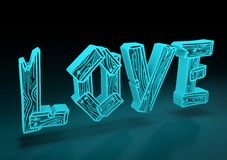San Valentine card. Neon shine LOVE word in 3D effect Stock Photography