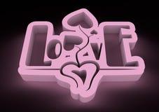 San Valentine card. Neon shine LOVE word in 3D effect Stock Photo