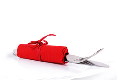 San valentine cutlery. Cutlery in a red napkin for san valentine Royalty Free Stock Photos