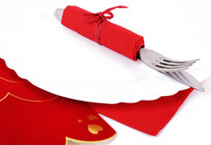 San valentine cutlery. Cutlery in a red napkin for san valentine Royalty Free Stock Photo