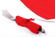 San valentine cutlery. Cutlery in a red napkin for san valentine Stock Image