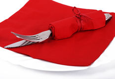San valentine cutlery. Cutlery in a red napkin for san valentine Stock Photography