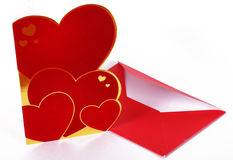 San valentine's card. A red san valentine's card and a letter Stock Image
